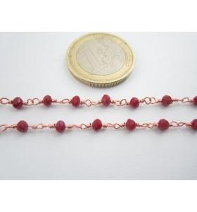 1 metro catenina rosario color rosè concatenata rosso scuro 3,5 mm