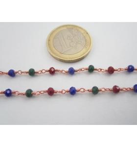 1 metro catenina rosario color rosè concatenata cristallo 3 colori 3,5 mm