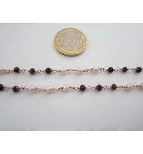 1 metro catenina rosario color rosè concatenata crist. nero e perle bianche 3 mm