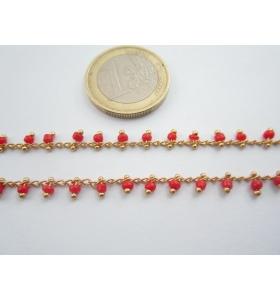 1 metro catenina rosario color oro con perline laterali di colore rosso 3 mm