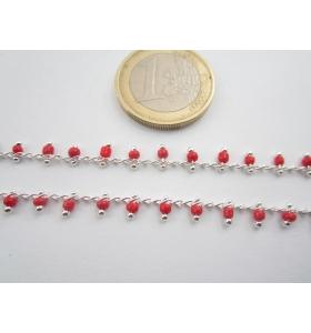 1 metro catenina rosario color argento con perline laterali colore rosso 3 mm