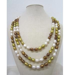 collana molto lunga perle scaramazze 3 colori annodate lunga chiusa 82/83 cm