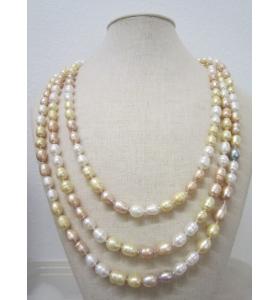 collana molto lunga perle scaramazze 3 colori annodate lunga chiusa 84 cm