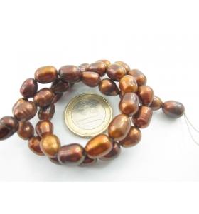 1 filo di perle scaramazze color bronzo di 10 x 8 mm lungo 38 cm da acqua dolce