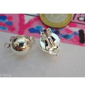 2 clip tono argento con frontale semi tondo bombato di 12 mm