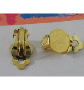 2 clip dorate no foro base tonda piatta di 9 mm da incollo