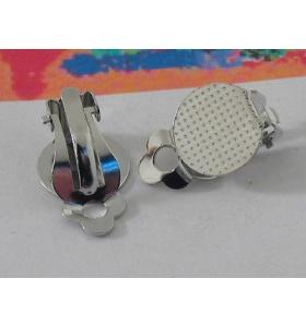 2 clip rodiate no foro base tonda piatta di 13 mm da incollo