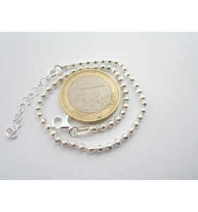 bracciale uomo unisex argento 925 maglia pallini sfaccettati lungo 21,5 cm-23 cm
