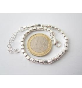 bracciale uomo unisex argento 925 maglia cubetti grandi lungo da 18 cm a 22 cm