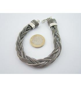 bracciale snake originale indiano in argentone 6 fili intrecciati lungo 22 cm