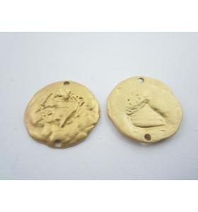 2 componenti connettori in zama 2 fori placcato oro giallo effetto satinat 19 mm