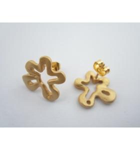 2 basi x orecchini fiore in zama placcato oro giallo satinato misure diam 15 mm