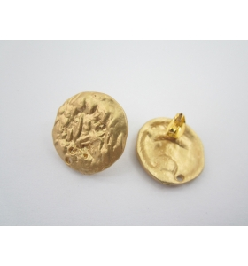 2 basi x orecchini tonde in zama placcato oro giallo satinato misure diam. 19 mm