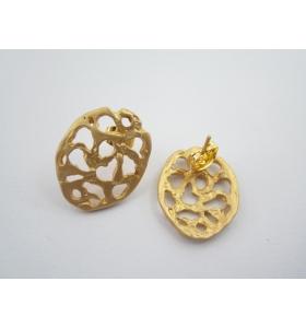 2 basi x orecchini ovale in zama placcato oro giallo satinato misure 20x16 mm