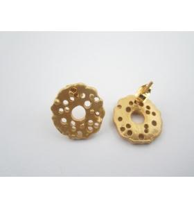 2 basi x orecchini tondeggiante in zama placcato oro giallo satinato diam. 16 mm