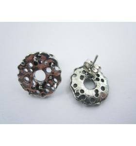 2 basi x orecchini tondeggiante in zama argentato diametro 16 mm