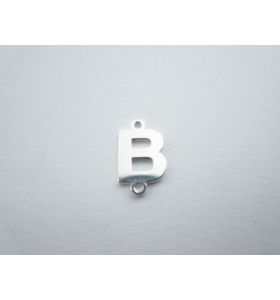 1 connettore 2 fori lettera B in argento 925 made in italy misure 11 x 6 mm