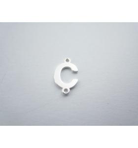 1 connettore 2 fori lettera C in argento 925 made in italy misure 11 x 6 mm