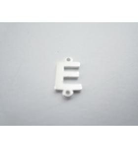 1 connettore 2 fori lettera E in argento 925 made in italy misure 11 x 6 mm