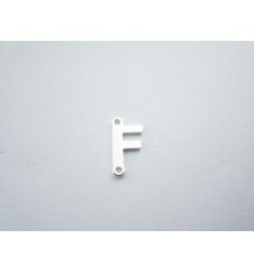 1 connettore 2 fori lettera F in argento 925 made in italy misure 11 x 6 mm