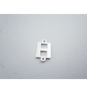 1 connettore 2 fori lettera H in argento 925 made in italy misure 11 x 6 mm