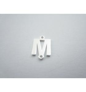 1 connettore 2 fori lettera M in argento 925 made in italy misure 11 x 6 mm