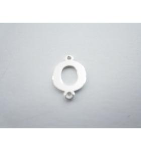 1 connettore 2 fori lettera O in argento 925 made in italy misure 11 x 6 mm