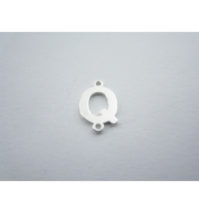 1 connettore 2 fori lettera Q in argento 925 made in italy misure 11 x 6 mm