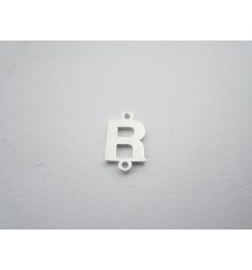 1 connettore 2 fori lettera R in argento 925 made in italy misure 11 x 6 mm