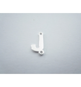 1 connettore 2 fori lettera J in argento 925 made in italy misure 11 x 6 mm