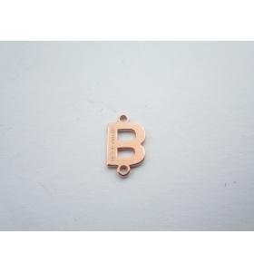 1 connettore 2 fori lettera B in argento 925 placcato oro rosè misure 11 x 6 mm