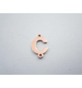 1 connettore 2 fori lettera C in argento 925 placcato oro rosè misure 11 x 6 mm