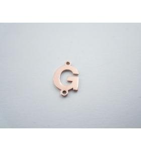 1 connettore 2 fori lettera G in argento 925 placcato oro rosè misure 11 x 6 mm