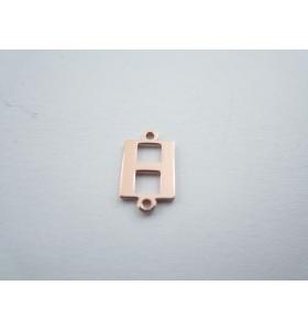 1 connettore 2 fori lettera H in argento 925 placcato oro rosè misure 11 x 6 mm