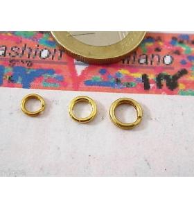doppi anellini brisè argento 925 placcato oro giallo in 3 misure da 5 a 7 mm