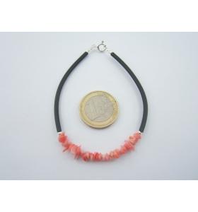 bracciale argento 925 e corallo naturale sardo cordino caucciù lungo 18 cm