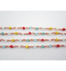 1metro catena concatenata colore oro rosè cristalli mix color 3,5x3 mm m2