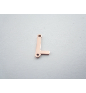 1 connettore 2 fori lettera L in argento 925 placcato oro rosè misure 11 x 4 mm
