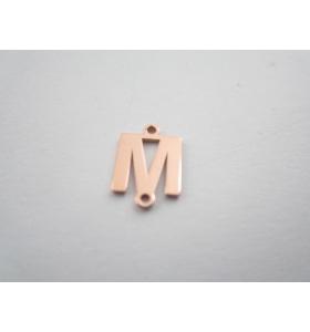 1 connettore 2 fori lettera M in argento 925 placcato oro rosè misure 11 x 4 mm