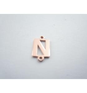 1 connettore 2 fori lettera N in argento 925 placcato oro rosè misure 11 x 4 mm