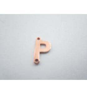 1 connettore 2 fori lettera P in argento 925 placcato oro rosè misure 11 x 4 mm