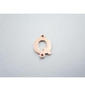 1 connettore 2 fori lettera Q in argento 925 placcato oro rosè misure 11 x 4 mm