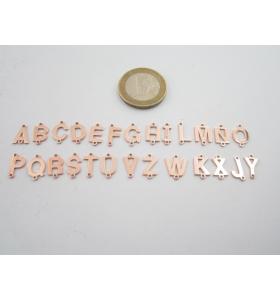 1 connettore 2 fori lettera U in argento 925 placcato oro rosè misure 11 x 4 mm