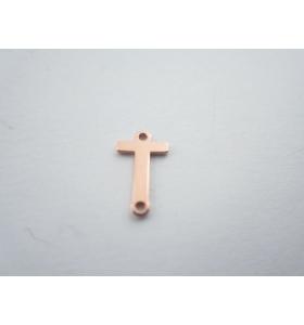 1 connettore 2 fori lettera T in argento 925 placcato oro rosè misure 11 x 4 mm