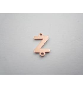 1 connettore 2 fori lettera Z in argento 925 placcato oro rosè misure 11 x 4 mm