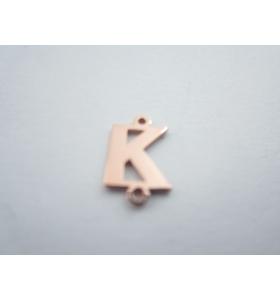 1 connettore 2 fori lettera K in argento 925 placcato oro rosè misure 11 x 4 mm