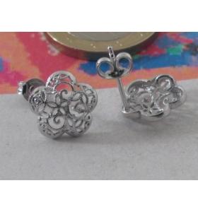 1 paio di basi per orecchini fiore filigrana argento 925 rodiato