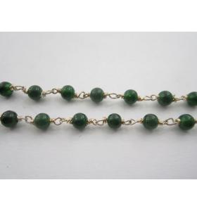 63 cm catenina rosario verde scuro concatenata cristallizzato cabochon 4,5 mm