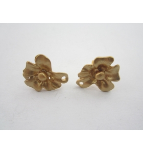 2 basi x orecchini fiore in zama placcato oro giallo satinato misure 15x17 mm