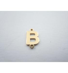 1 connettore 2 fori lettera B argento 925 placcato oro giallo misure 11 x 6 mm
